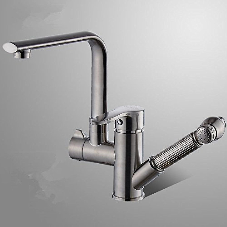 AQMMi Wasserhahn Waschtischarmaturen Messing Ausziehbare Schwenken Warmes Und Kaltes Wasser Erweiterbar Gebürstet Einhebelsteuerung Waschtischarmatur Badezimmer Waschbeckenamatur