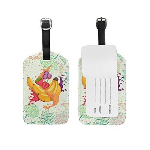 Blütenobst Bananensaft Kofferanhänger Leder Gepäck Koffer-Tags Gepäckanhänger Ausweisetikett Name Adresse Nachricht Tags für Reise(2Stück)