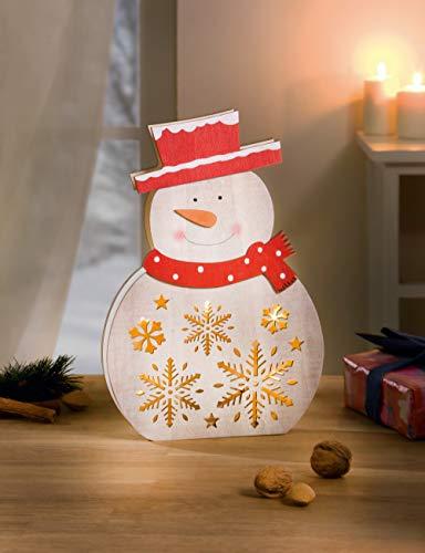 Dekoleidenschaft Schneemann-Figur Schneeflocke aus Holz, mit LED Beleuchtung, 30 cm hoch, Weihnachts-Deko