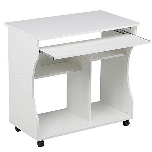 Yaheetech Mesa de Ordenador Mesa de Computadora Moderno con Ruedas para Oficina Hogar Mesa de Escritorio 80x 48 x 76 cm Blanco