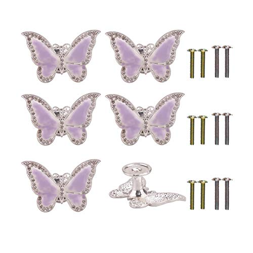 RUN 6 Pieces Butterfly Knobs Metal Decorative Cabinet Drawer Cupboard Furniture Door Single Hole Pulls Handles (Purple)