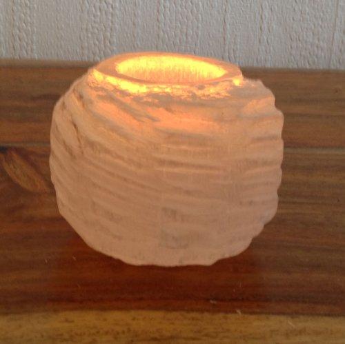 Natural Selenite Round Iceberg Shape Tealight Candle Holder - L Di 9...