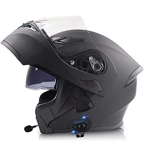 CDEAS Motorcycle Bluetooth Helmet,DOT Approved Anti-Fog Double Visor Modular Full Face Motorbike Locomotive Helmet Built-in Mp3 FM Broadcast Integrated Intercom Communication System