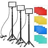 Andoer 3 Packs Luz LED Video 5600K Regulable con Soporte Trípode Ajustable y Filtros de Color para Angulo Bajo/Tablero de Mesa, Iluminación LED Colorida, Kit Iluminación Fotografía Portátil