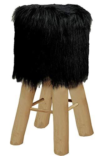 Bar-Hocker Bistrohocker Kunstfell schwarz oder weiß mit Holzfüßen Ø 35 cm Höhe 72 cm Farbe schwarz
