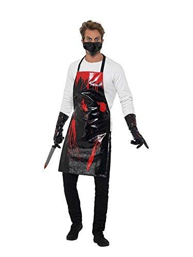 shoperama Blutiges Schlächter Set Halloween Herren Kostüm Lack Schwarz/Rot Butcher Horror Serien-Mörder Serien-Killer