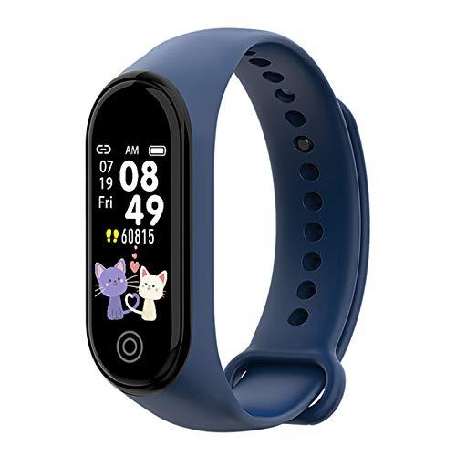 YGQNH Pulsera Deportiva Bluetooth, Deportes A Prueba De Agua para Apple Android Reloj Inteligente Monitor De Frecuencia Cardíaca Funciones De Presión Arterial para Hombres Mujeres Niños(Color:Azul)