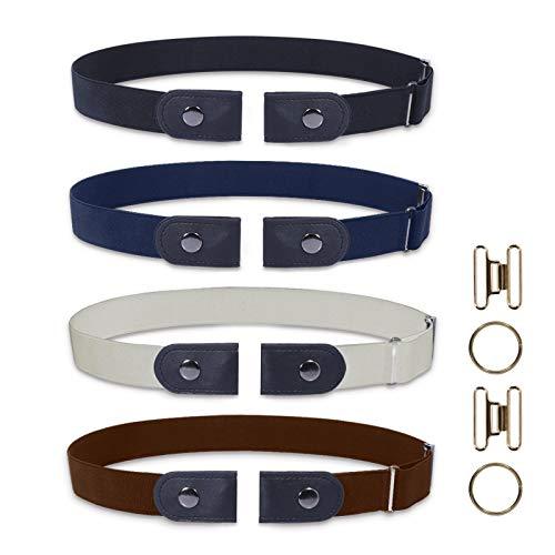 ELOSIS 4 Stücke (Beige,Blau,Schwarz,Braun) Elastischer Gürtel, Ohne Schnalle Gürtel für Damen,Unsichtbare Gürtel für Jeans Hosen Kleid,Einstellbarer elastischer Stretch Gürtel für Damen oder Herren