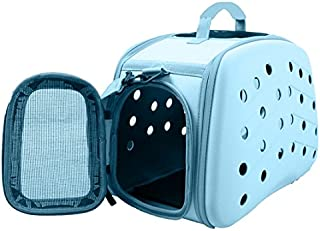 PET LIFE 'Narrow Shelled' Perforated Lightweight Collapsible Military Grade Fashion Designer Travel Pet Dog Carrier Crate