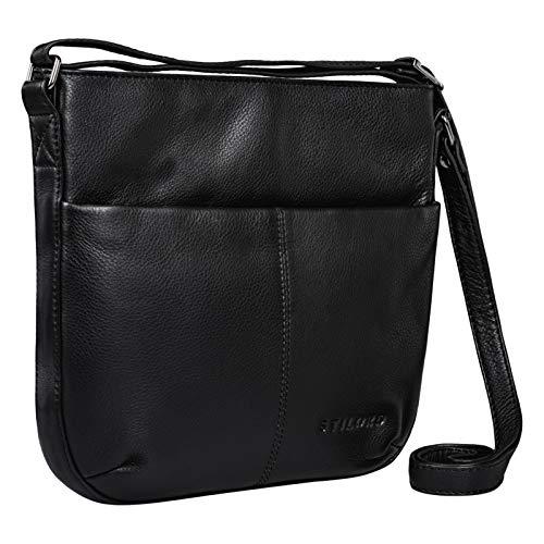 STILORD \'Lucy\' Crossbody Bag Damen Leder Vintage Ledertasche Umhängetasche Modern für Freizeit Ausgehen Shopping Handtasche Echtleder, Farbe:schwarz