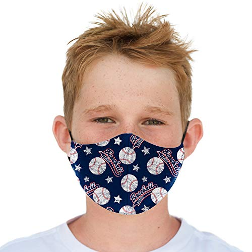 Youth Washable Face Mask with Adjustable Earloops & Nose Wire - 3 Layers, 100% Cotton Inner Layer - Ages: 5-12 - Cloth Reusable Face Protection with Filter Pocket (Baseball)