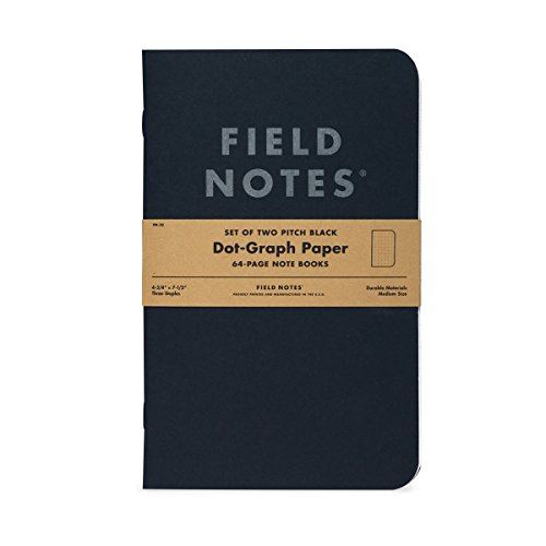 Field Notes Pitch Black Notebook - 2-Pack - Large Size (4.75
