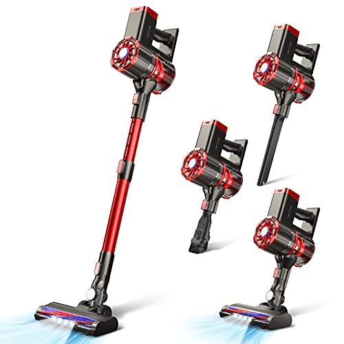 Cordless Vacuum Cleaner,20KPa Stick Vacuum Cleaner 180W Portable Lightweight Vacuum Hard Floor Vacuum, 2600mAh Detachable Battery HEPA Filter for Pet Hair Carpet Hardwood Bare Floor PRETTYCARE W100