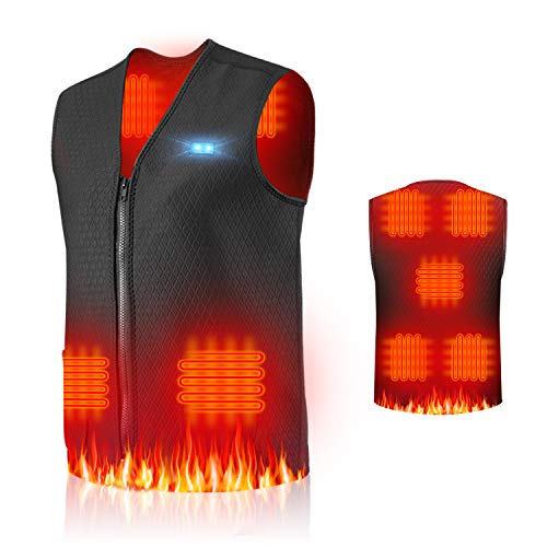 Jkevow Gilet riscaldato per Uomo e Donna Lavabile USB Ricarica Moto Moto motoslitta Bici da Caccia Costume da Caccia (XL)