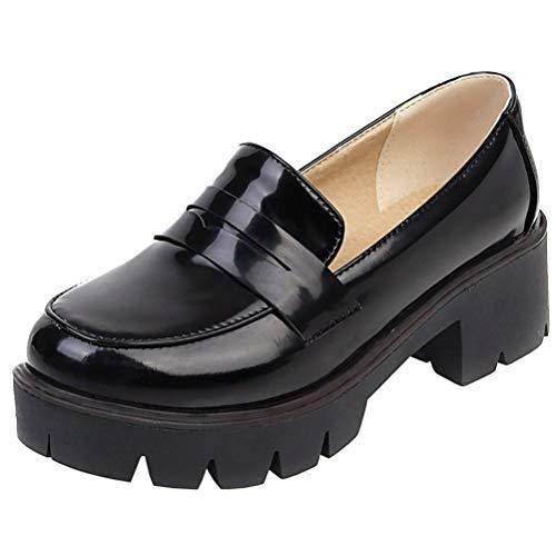 AIMODOR Damen Plateau Loafer mit Blockabsatz Pumps Geschlossen Schuhe schwarz 39