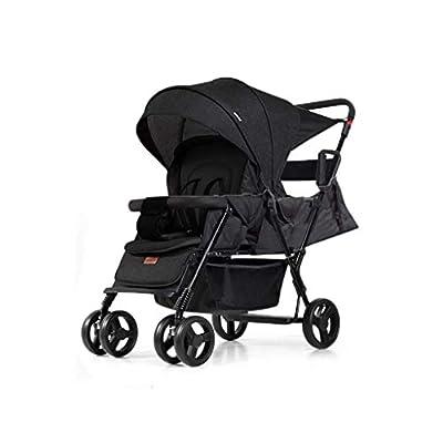 Twin Baby Strollers Respaldo Ajustable Doble Cara con Amortiguador Trolley cómodo y Plegable (Color: Negro)