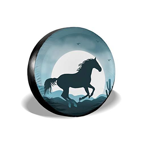 Xhayo Wild Horse Landscape - Cubierta universal de repuesto para neumáticos, impermeable, a prueba de polvo, para remolques, RV, SUV y muchos vehículos (negro, diámetro 14-17 pulgadas)