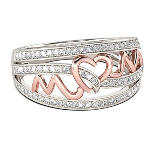 VALICLUD Anel criativo em forma de coração, anel para mãe, anel de dedo (ouro rosa, estilo número 10) Regalo Festa Della Mamma