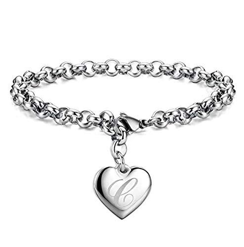 HMANE Punk 925 Plata de Ley A-Z Carta Corazón Lucky Charm Pulseras y brazaletes para Mujeres cumpleaños joyería Fina 19 cm
