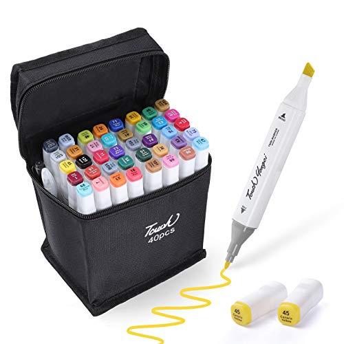 Czemo Rotulador de 40 Colores Marker Pen Dual Tips Arte del Bosquejo Gemelas Rotuladores Set Rotuladores de Marcadores Manga Graffiti para Principiantes Niños Adulto(Blanco)