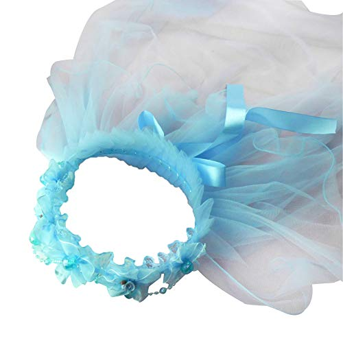 YO-HAPPY Lamp String, Children Girls Princess Hairband Double Layers Tulle Veils Flowers Garland Ruffles Floral Lace Satin Lace Up Ribbon Wreath Headband Beaded Chain