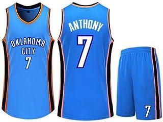 Basketball Clothing Suit Oklahoma City Thunder 7# Carmelo Anthony Jersey Sleeveless Vest Sports Shorts Suit Training Competition Casual Sweatshirt,Blue,2XS