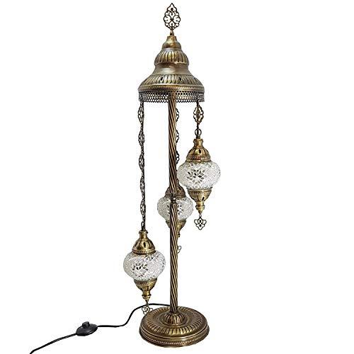 De turquía marroquí Estilo Tiffany Mosaico De Vidrio Lámpara De Pie Lámpara Mesilla - OR11 X 3 Bombilla lámpara de pie