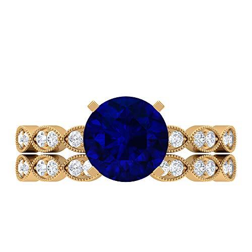 Conjunto de anillos de novia solitario, piedras preciosas redondas de 2,64 quilates, D-VSSI Moissanite 8 mm de zafiro azul creado en el laboratorio, 14K Oro amarillo, Size:EU 58