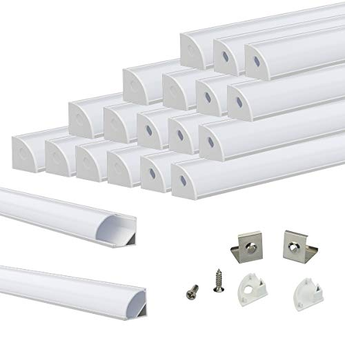 Muzata V-Shape LED Channel System with Milky White Cover Lens Frosted diffuser,Silver Aluminum Extrusion Profile Housing Track for 3528,5050,5630 Strip Tape Lights V1SW 1M WW,LV1 LW1,20Pack 1M/3.3FT