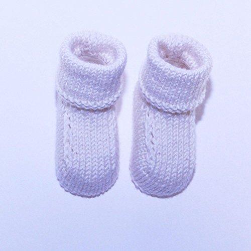 Chaussons Bébé en Laine De Luxe Fait Main : - Blanc / 0-6 mois