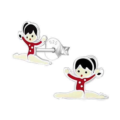 Monkimau Pendientes de niña bailarina de plata de ley 925 auténtica con esmalte