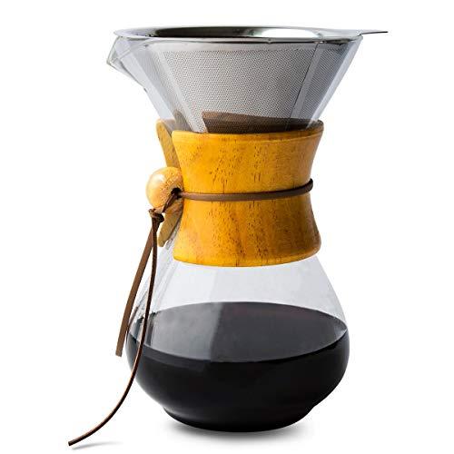 Comfify Pour Over Coffee Maker con Jarra de borosilicato y Filtro de Acero Inoxidable Reutilizable - Cafetera goteadora de café Manual de 500ml con Mango de Madera Real