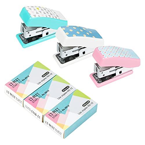Mini Grapadora de Escritorio, Comius Sharp 3 Pcs Grapadora Mini de Mano, Capacidad de 12 Hojas, Grapadora de Oficina - Tres Colores