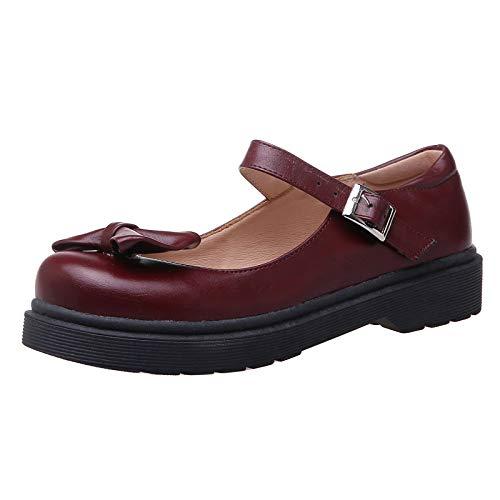 NIGHT CHERRY Mujer Casual Tacón Bajo Zapatos de Tacón Lazos Plano Oficina Zapatos Zaohongse Size 41 Asiática