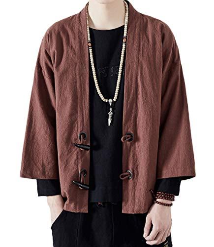 ULEEMARK Uomo Cardigan Kimono Giapponese Casual Loose Giacche Lino Cappotto Corto