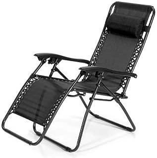 Reclining Chair Zero Gravity Sun Bed Beach Chair - Black