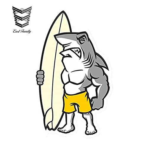 FAFPAY Sticker de Carro 13cm x 8cm Estilo de Coche tiburón Surf Tabla de Surf Surfista Vinilo Pegatina portátil Viaje Equipaje calcomanía Impermeable Coche Pegatina