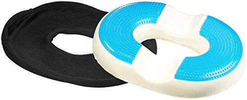 Newgen Medicals Gelkissen: Ergonomisches Ring-Sitzkissen aus Memory-Foam, mit Gel-Beschichtung (Sitzkissen Autos)