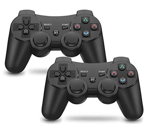 Mando PS3 inalámbrico Bluetooth Gamepad Doble Vibración Six-Axis Mando a Distancia Joystick para Playstation 3 con Cable USB (2 negros)
