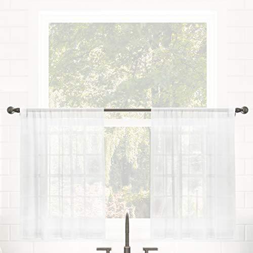 "Clean Window Windowpane Plaid Anti-Dust Allergy/Pet Friendly Sheer Cafe Curtain, 52"" x 24"" Kitchen Tier Pair, White"