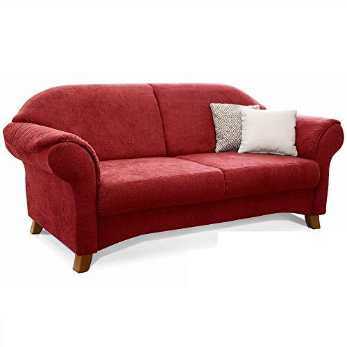 Cavadore 3-Sitzer Sofa Maifayr mit Federkern / Moderne 3-sitzige Couch im Landhausstil mit Holzfüßen / 194 x 90 x 90 / rot