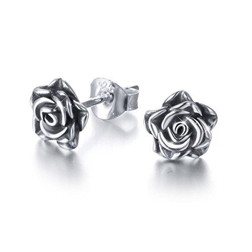 DAOCHONG Rose Ohrstecker S925 Sterling Silber Blume Ohrstecker romantische Geschenke für Frauen Mädchen, oxidierte Ohrstecker