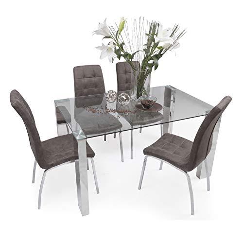 Homely - Conjunto de Comedor Karina II Mesa de 140x90 cm de Cristal y Acero Pulido y 4 sillas de Polipiel y Patas de Acero Cromado (MARRÓN Vintage)
