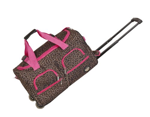 Rockland Rolling Duffel Bag, Pink Leopard, 22-Inch