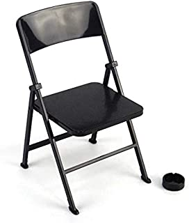 "Warmtree 1/6 Scale Black Foldable Chair for 12"" Action Figure Accessories Dollhouse Decoration Miniature Furniture Toys"
