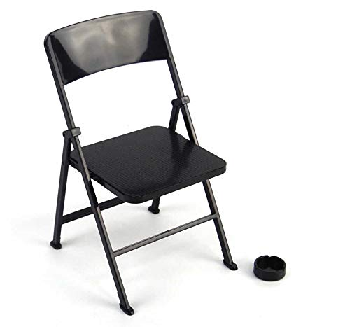 Warmtree 1/6 Scale Black Foldable Chair for 12' Action Figure Accessories Dollhouse Decoration Miniature Furniture