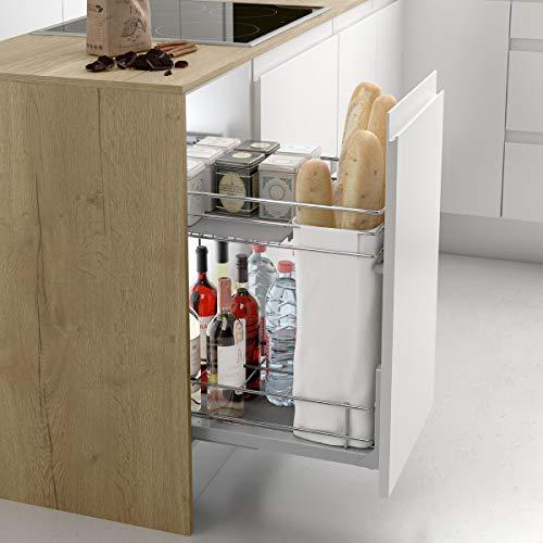Casaenorden - Botellero panero extraíble de rejilla para instalar en la base del mueble de cocina, 300