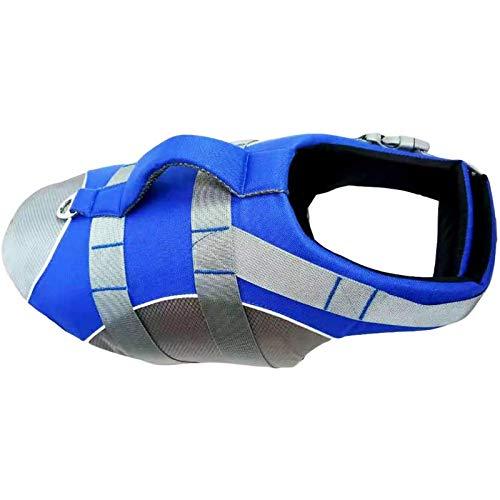 HWZZ Chaleco salvavidas para perro, para natación, kayak, bote, salvavidas, abrigo para traje de baño pequeño, mediano y grande, dispositivo de flotación, color azul, M