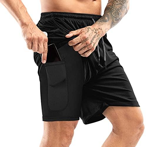 Yidarton Shorts Herren Sport Sommer 2 in 2 Kurze Hosen Schnelltrocknende Laufshorts Fitness Joggen und Training Sporthose mit Tasch