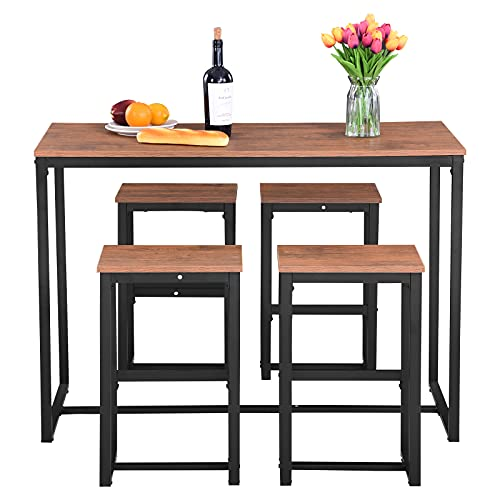 5 Pieces Bar Table and Stools Set,Kitchen Dining Table and Chairs Set 4,Breakfast Bar Table and Stools Set,Industrial Rectangular Wooden Table and 4 Stools for Home Kitchen Bar Bistro Restaurant